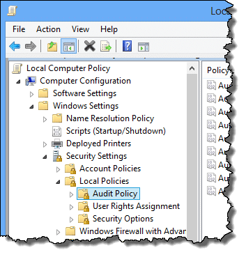 Audit Policy in Windows 8 gpedit.msc
