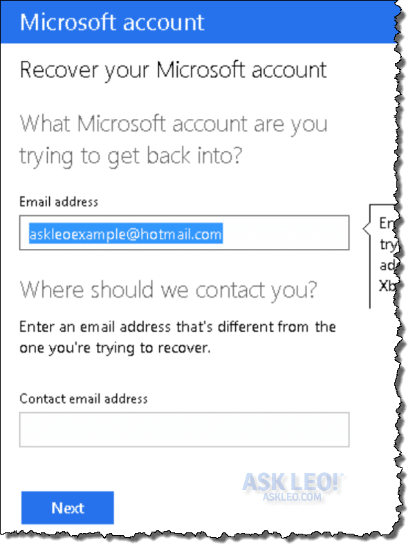 Outlook.com password recovery questionaire start