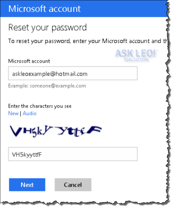 Outlook.com Password Reset Process