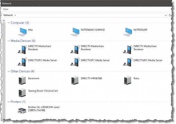 My home network, viewed from Windows 10