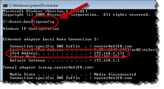 Command Prompt showing IP address
