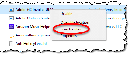 Search online option in Task manager Startup