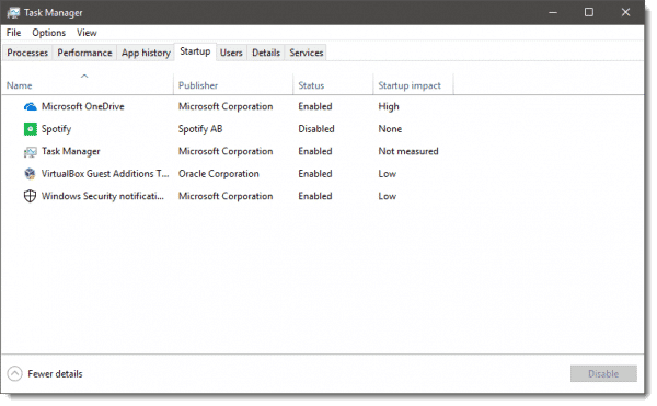 Task Manager's Startup Tab