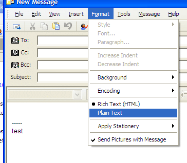 Outlook Express Plain Text Selection