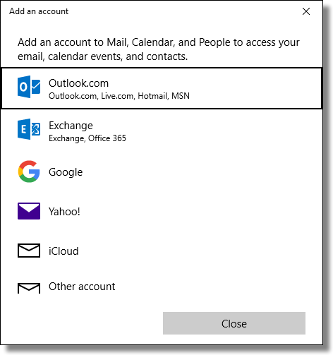 Windows 10 Mail Add Account