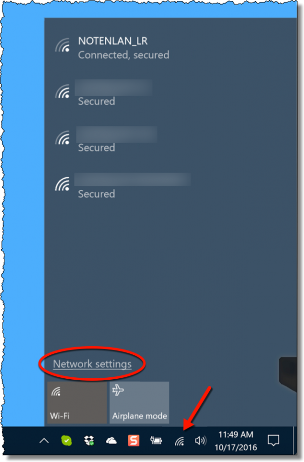 Network settings link