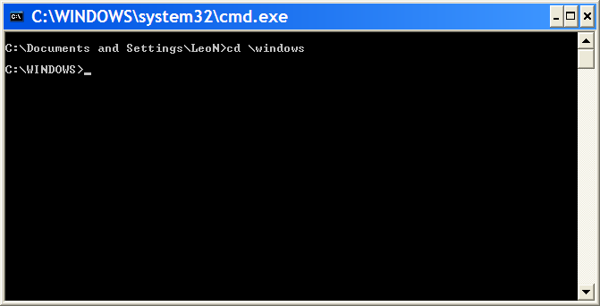 Command Prompt having executed a CD
