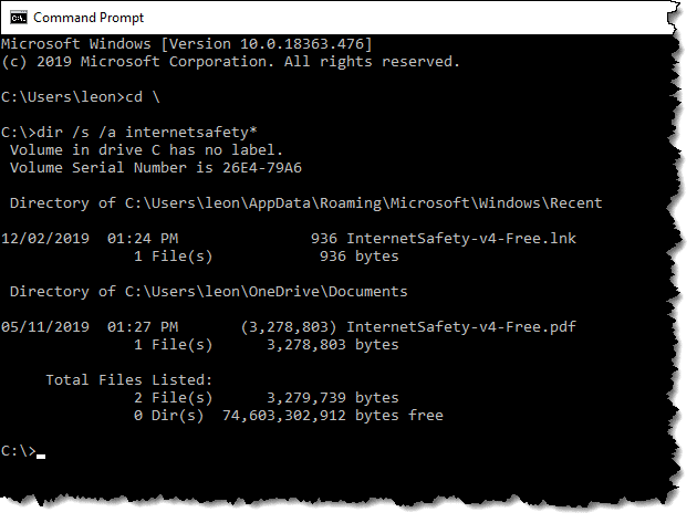 Performing a search in the Windows Command Prompt
