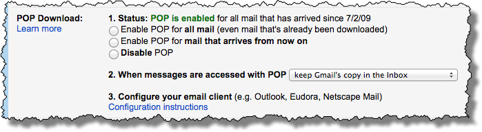 Gmail POP settings