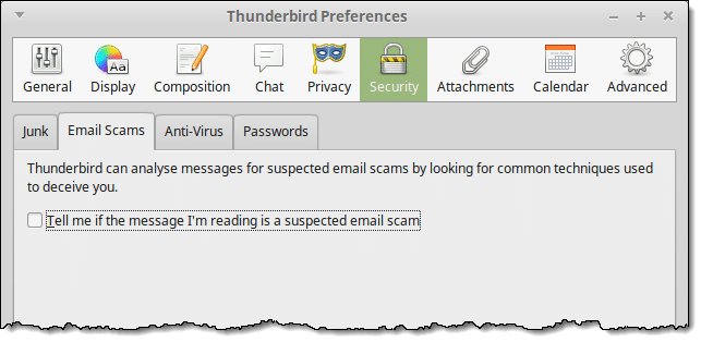 Thunderbird's check for scams setting