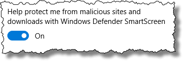 Windows Defender Smart Screen option