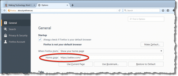 Firefox Homepage Setting