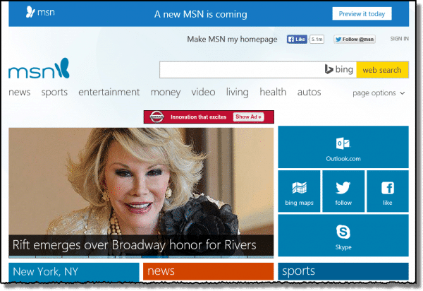 Old MSN Home Page