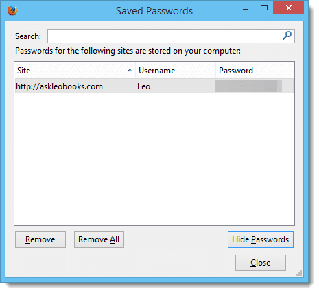 Saved Passwords in FireFox