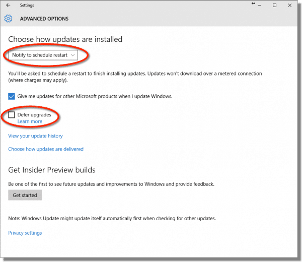 Windows 10 Windows Update Settings