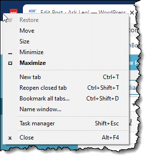 Right clicking on a small space