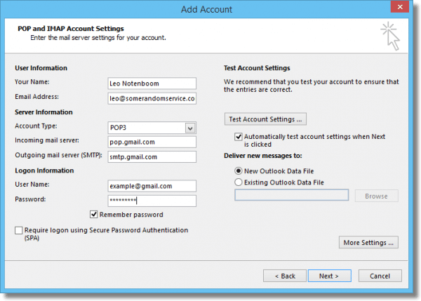 Outlook POP3 Account Configuration