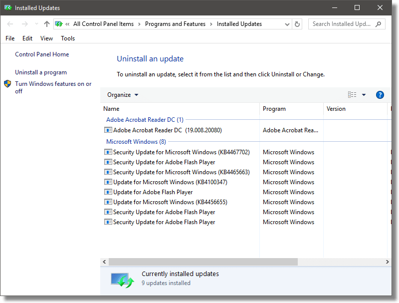 Uninstallable Updates in Windows 10