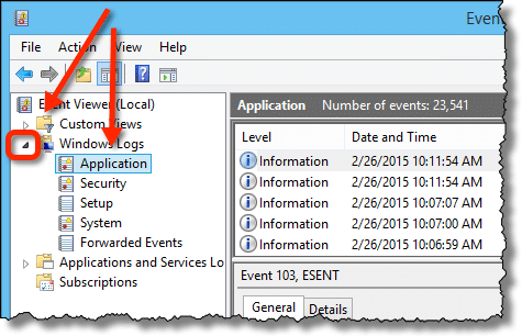 Event Viewer Application Log