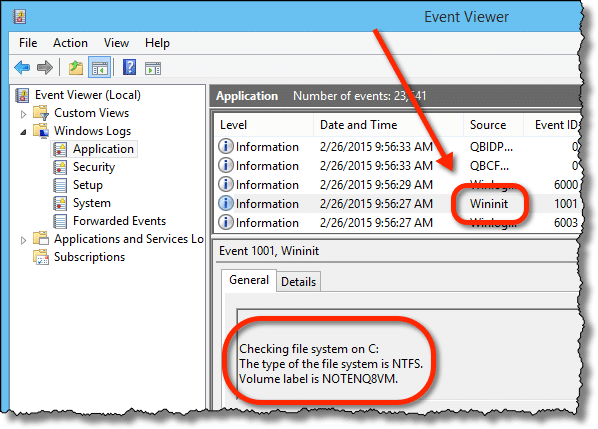 Event Viewer Wininit Event