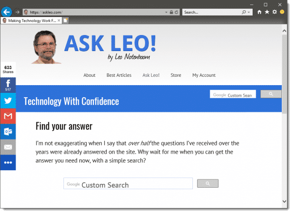 Default Internet Explorer showing Ask Leo!