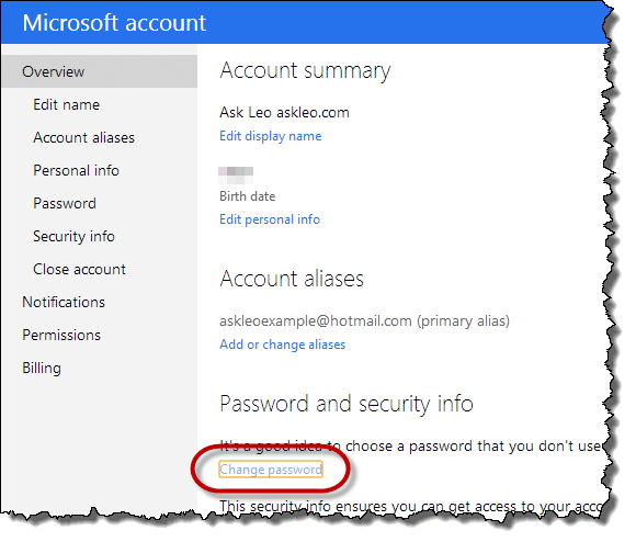 Microsoft account summary