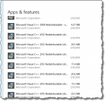 Visual C++ Redistributables in Windows 10