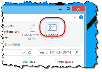 File Explorer Options Button
