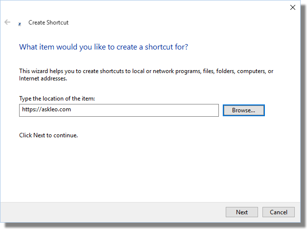 Create Shortcut Dialog