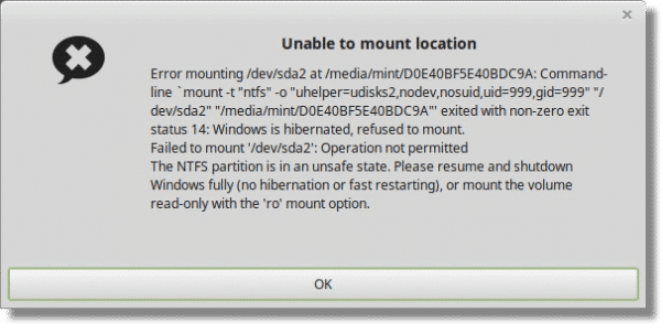 Unable to Mount