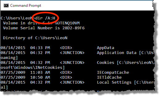 DIR /A:H command in Windows Command Prompt