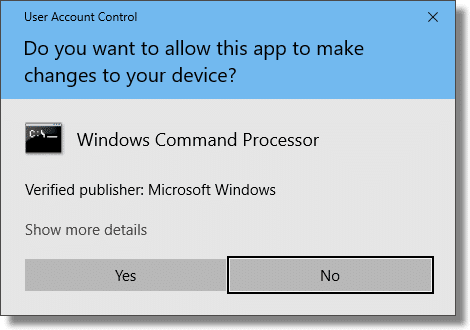 UAC resulting from Command Prompt (Admin)