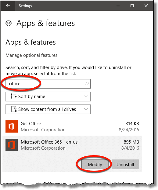 Settings - Microsoft Office