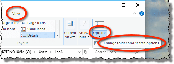 Windows 10 View Options