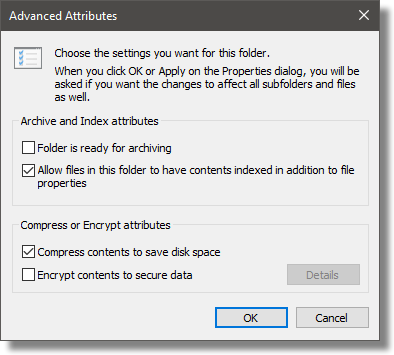 Advanced Attributes on a Folder