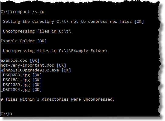 Uncompressing files in the command line