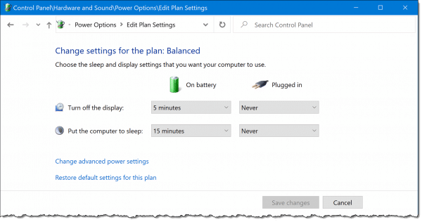 Changing settings for a power plan.