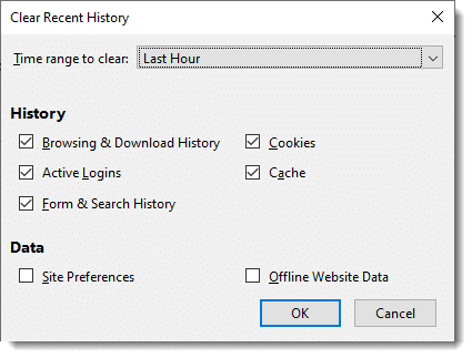 Firefox Clear Recent History