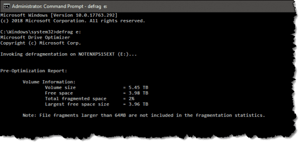Windows Command Prompt Defrag