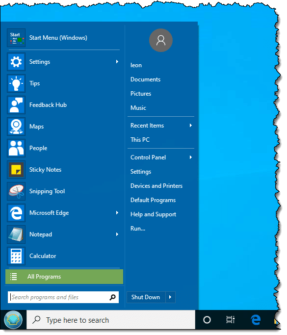 Windows 7 Style Start Menu in Windows 10
