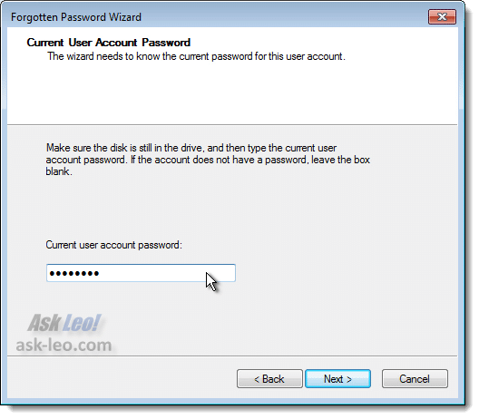 Creating a Password Reset Disk - Security Verification