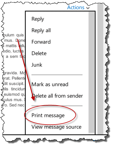 Actions drop down, showing Print