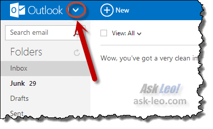 Outlook.com's downarrow