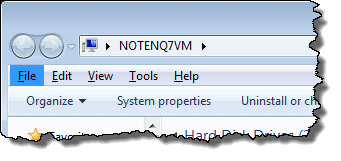 Windows 7 Explorer showing menu bar