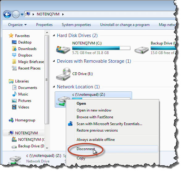 Windows 7 Explorer Disconnect Remote Drive