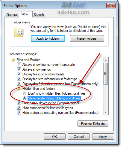 Windows Explorer Hidden Files Option
