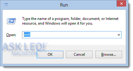 Run dialog with MRT entered