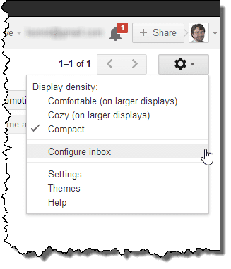 Gmail configure inbox menu