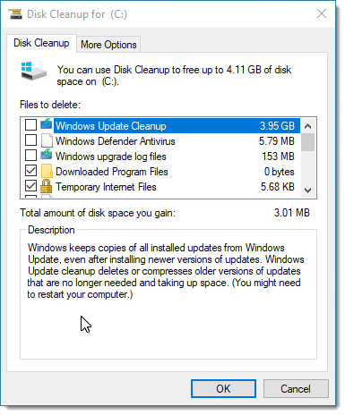 Disk cleanup for the system