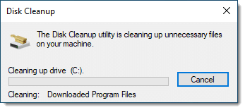 Disk Cleanup in progress